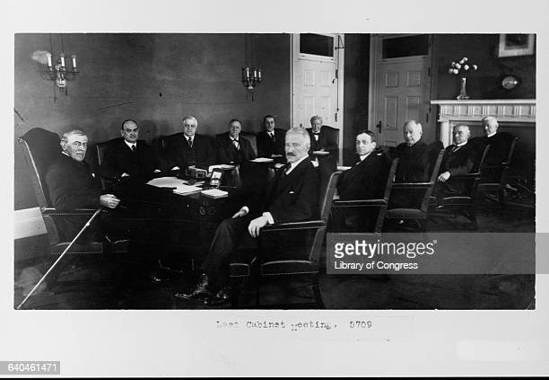 President Woodrow Wilson the 28th President of the United States at his last cabinet meeting