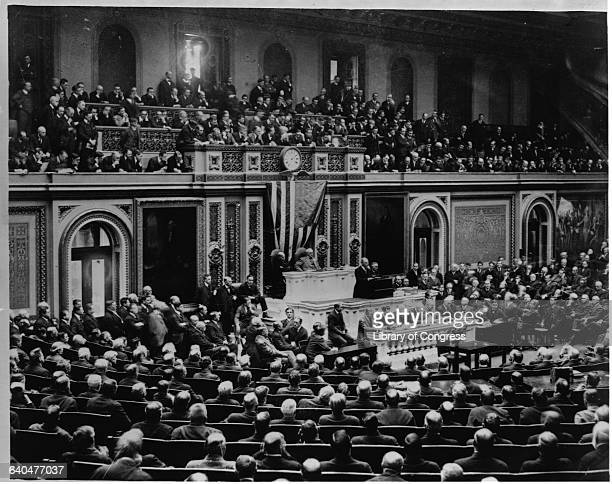President Woodrow Wilson the 28th President of the United States addresses Congress on April 2 1917 requesting a declaration of war against Germany