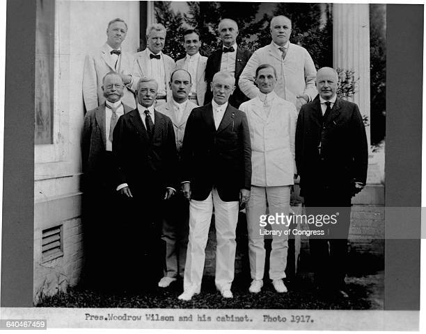 President Woodrow Wilson the 28th President of the United States stands with his cabinet Front row William C Redfield Secretary of Commerce Robert...