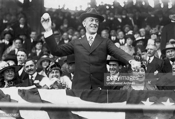 President Woodrow Wilson throwing out the first ball on opening day of the baseball season Washington DC 1916
