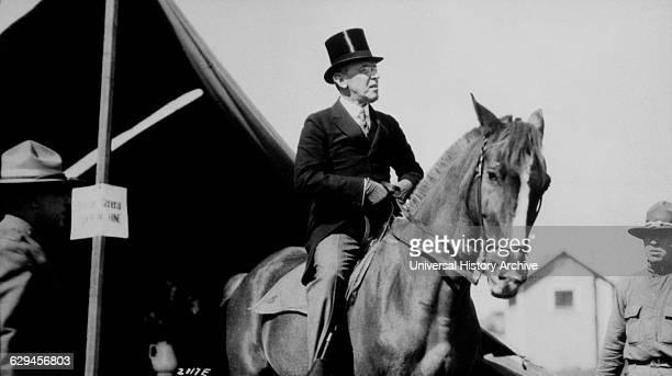 President Woodrow Wilson Visiting Army Camp on Horseback, Sea Girt, New Jersey, USA, 1917.