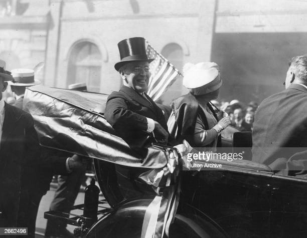 President Woodrow Wilson with the First Lady Edith Wilson riding in a carriage in New York President Wilson was the 28th President of the United...