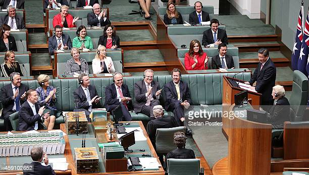 President Xi Jinping addresses the Australian Government in the House of Representatives at Parliament House on November 17 2014 in Canberra...