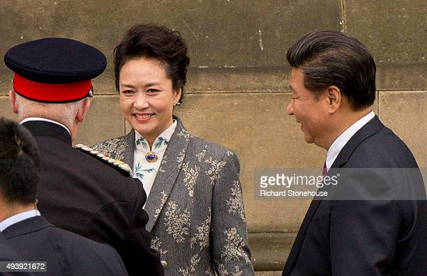 President Xi Jinping and wife Peng Liyuan visit Manchester Town Hall on October 23 2015 in Manchester England After listening to a presentation from...