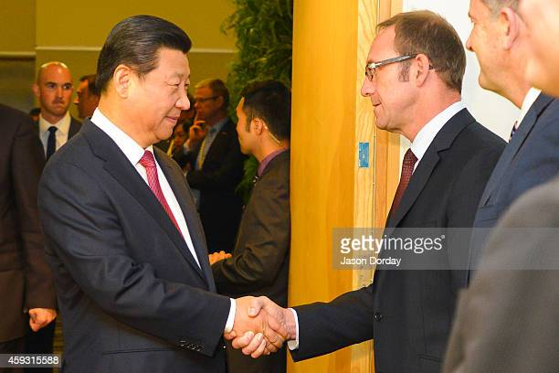 President Xi Jinping of China Shakes hands with Andrew Little Leader of the Labour Party during a meeting with the opposition party members at the...