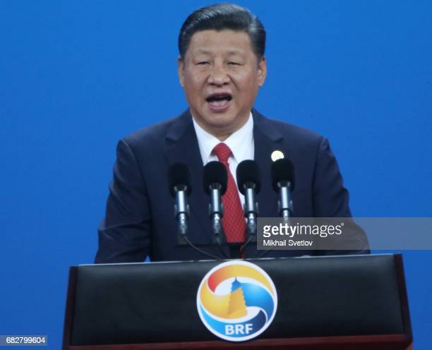President Xi Jinping of China speaks during the Belt and Road Forum for International Cooperation on May 14 2017 in Beijing China President of Russia...
