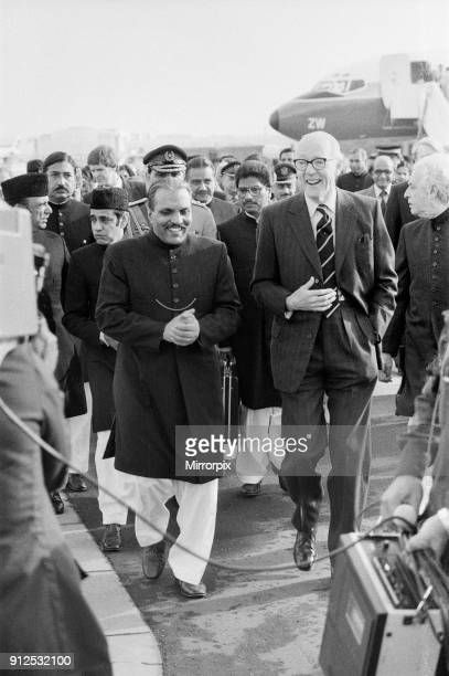 President Zia of Pakistan with Foreign Secretary Lord CArrington upon his arrival at Heathrow Airport before his talks with the Prime Minister on the...