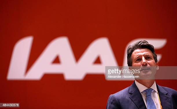 IAAF presidental candidate Lord Sebastian Coe during the 50th IAAF Congress at the China National Convention Centre CNCC on August 19 2015 in Beijing...