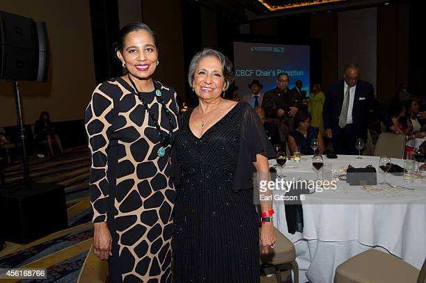 President/CEO A Shuanise Washington and Business Woman Cathy Hughes pose for a photo at the Congressional Black Caucus Foundation Inc's Chair's...
