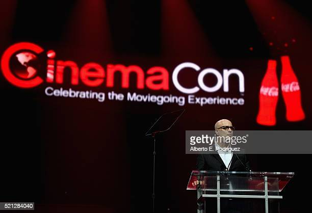 President/CEO John Fithian speaks during the CinemaCon Big Screen Achievement Awards brought to you by the CocaCola Company at The Colosseum at...