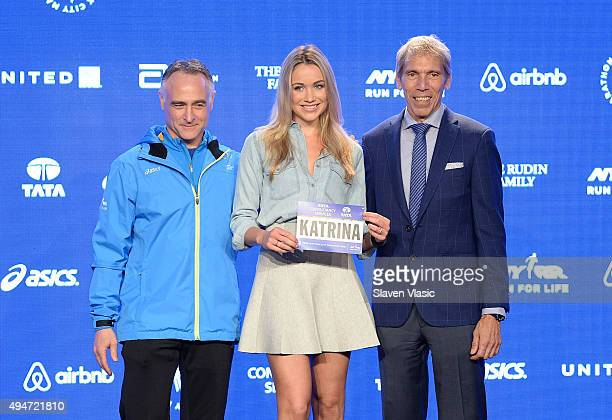 President/CEO, New York Road Runners Michael Capiraso, actress Katrina Bowden and President of Events, New York Road Runners Race Director, TCS New...