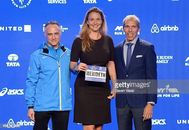 President/CEO, New York Road Runners Michael Capiraso, charity runner Merideth Gilmore and President of Events, New York Road Runners Race Director,...