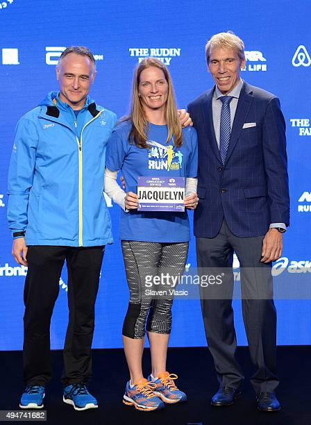 President/CEO, New York Road Runners Michael Capiraso, teacher Jacquelyn Mahoney and President of Events, New York Road Runners Race Director, TCS...