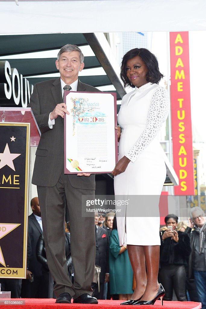 President/CEO of Hollywood Chamber of Commerce Leron Gubler (L) and actress Viola Davis attends a ceremony honoing Viola Davis with a star on the Hollywood Walk of Fame on January 5, 2017 in Hollywood, California.