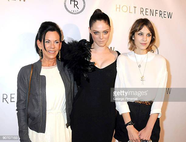 President/CEO of Holt Renfrew, model Coco Rocha and television presenter Alexa Chung pose at the Holt Renfrew launch of Vignettes with Alexa Chung,...