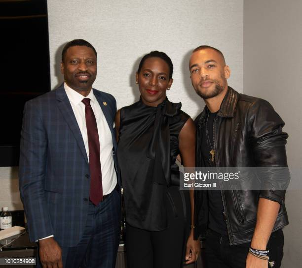 President/CEO of NAACP Derrick Johnson President/CEO ICON MANN Tamara Houston and actor Kendrick Sampson pose for a photo at ICON MANN And CAA In...