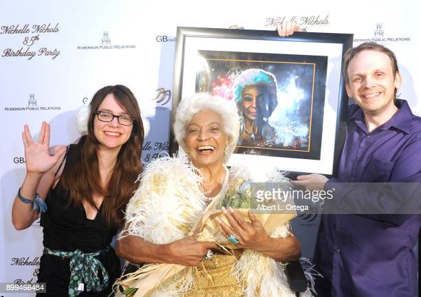 President/CEO of the Hollywood SciFi Museum Huston Huddleston and guest Kimberly present actress Nichelle Nichols a painting of herself at her 85th...