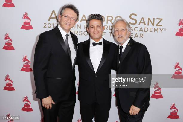 President/CEO of The Latin Recording Academy Gabriel Abaroa honoree Alejandro Sanz and Recording Academy President/CEO Neil Portnow attend the 2017...