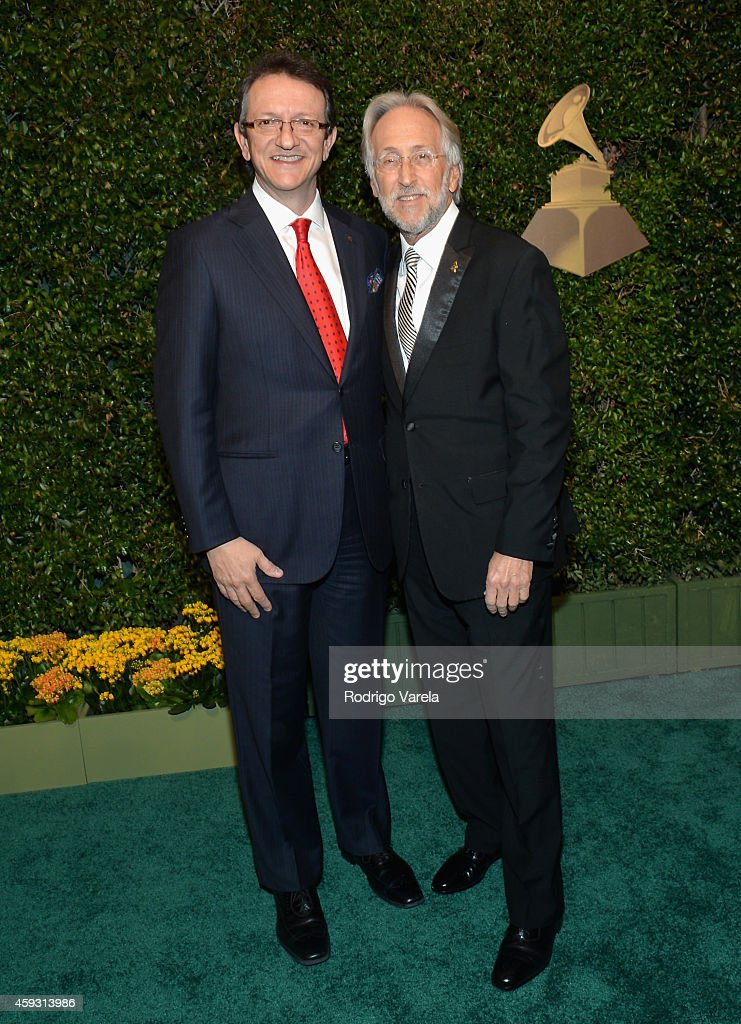 President/CEO of The Latin Recording Academy Gabriel Abaroa Jr. (L) and President/CEO of The Recording Academy and GRAMMY Foundation President/CEO Neil Portnow attend the 15th annual Latin GRAMMY Awards at the MGM Grand Garden Arena on November 20, 2014 in Las Vegas, Nevada.
