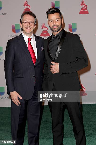 President/CEO of The Latin Recording Academy Gabriel Abaroa Jr and singer Ricky Martin attend the 15th annual Latin GRAMMY Awards at the MGM Grand...