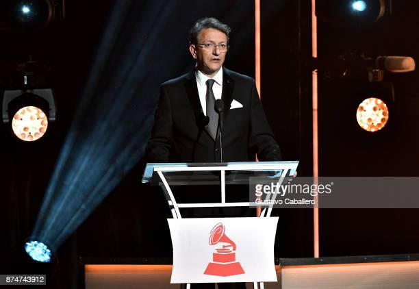 President/CEO of The Latin Recording Academy Gabriel Abaroa speaks onstage during the 2017 Person of the Year Gala honoring Alejandro Sanz at the...