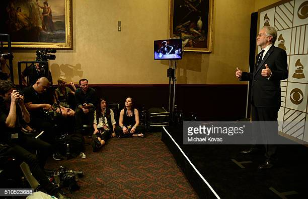 President/CEO of The Recording Academy and MusiCares Neil Portnow poses in the press room during The 58th GRAMMY Awards at Staples Center on February...
