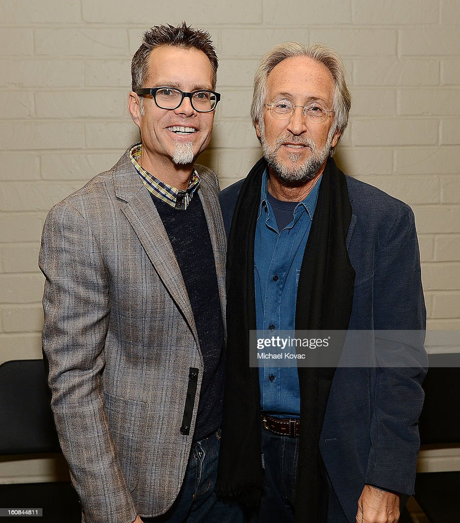 President/CEO of The Recording Academy Neil Portnow (R) and GRAMMY Foundation Board Chair Rusty Rueff attend GRAMMY Camp Basic Training on February 6, 2013 in Los Angeles, California.