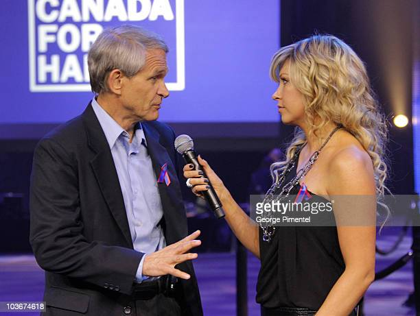 President/CEO of World Vision Canada Dave Toycen and host Cheryl Hickey inside the studio during rehearsals for the Canada for Haiti Benefit on...