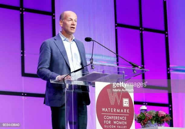 President/CEO SVB Financial Group and CEO Silicon Valley Bank Greg Becker speaks onstage at the Watermark Conference for Women 2018 at San Jose...