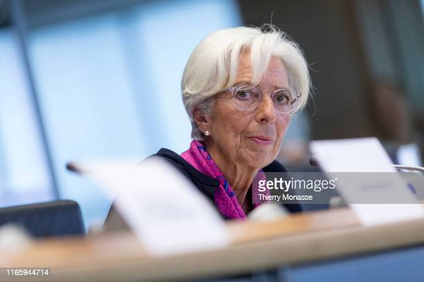 Presidentdesignate of the European Central Bank Christine Lagarde listens during an European Parliament's Committee on Economic and Monetary Affairs...