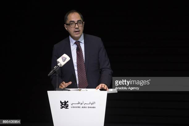 PresidentDirector of the Louvre JeanLuc Martinez makes a speech during the press preview of the 'From One Louvre to Another' exhibition at the Louvre...