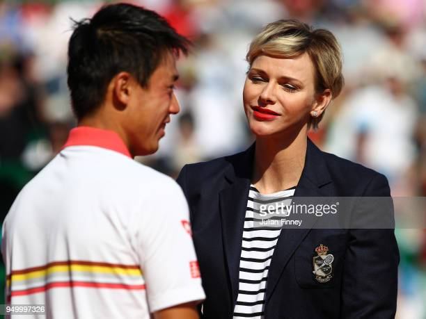 Presidente Charlene Princess of Monaco with runner up Kei Nishikori of Japan after his loss to Rafael Nadal of Spain during day eight of the ATP...