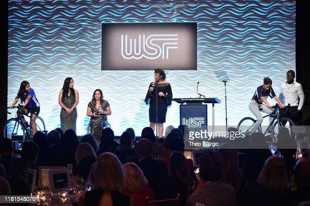 Presidentelect Alana Nichols and President Elana Meyers Taylor conduct stationary Trek Bicycles demonstration The Women's Sports Foundation's 40th...