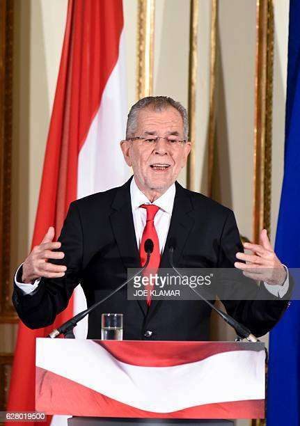 Presidentelect Alexander Van der Bellen delivers his first speech after the official results of the Austrian presidential elections were released...