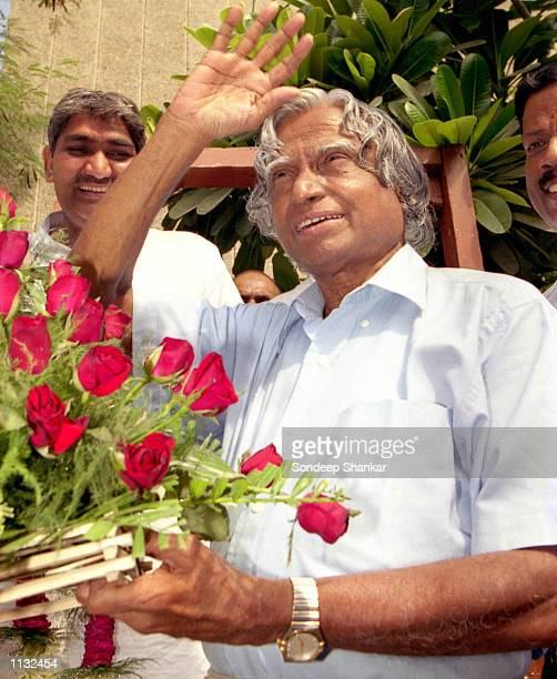 Presidentelect APJ Abdul Kalam waves to supporters after news of his victory during the presidential elections July 18 2002 in New Delhi India...