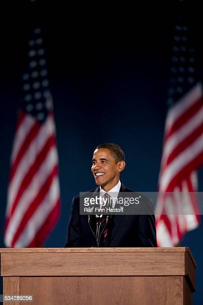 President-elect Barack Obama addresses supporters in Chicago's Grant Park after his election victory.