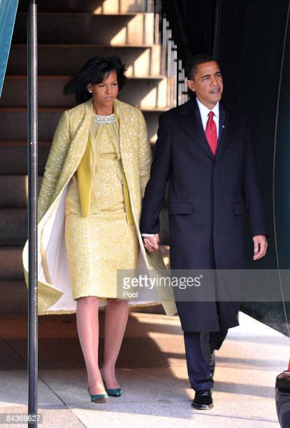 President-elect Barack Obama and his wife Michelle Obama depart Blair House before his Inauguration as the 44th president of the United States of...