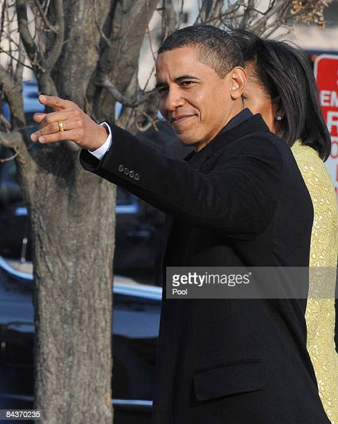 Presidentelect Barack Obama and his wife Michelle Obama depart the Blair House before his Inauguration as the 44th president of the United States of...