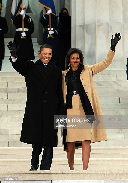 """President-elect Barack Obama and his wife Michelle walk down the stairs of the Lincoln Memorial during the """"We Are One: The Obama Inaugural..."""