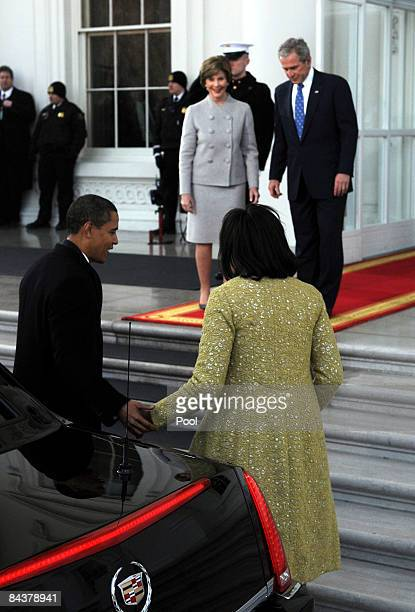Presidentelect Barack Obama and Michelle Obama are welcomed by US President George W Bush and First Lady Laura Bus to welcome into the White House...