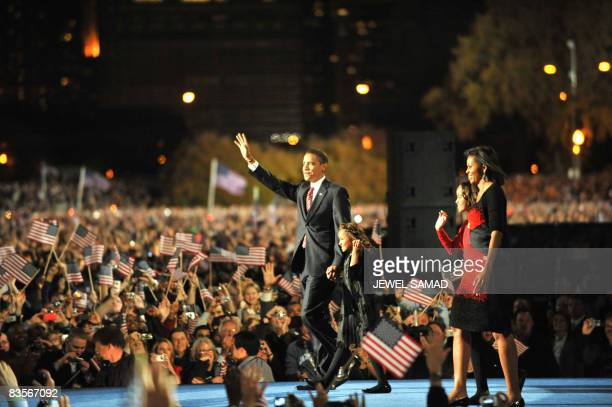 Presidentelect Barack Obama appears on stage for his victory speech at his election party at Grant Park in Chicago on November 4 2008 AFP PHOTO/Jewel...