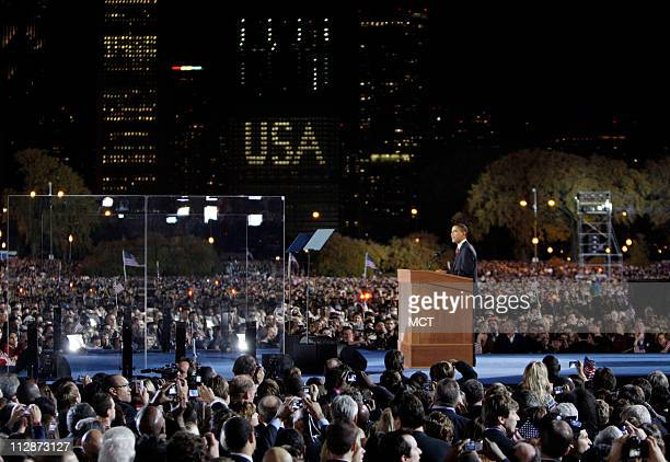 Presidentelect Barack Obama gives his acceptance speech after it was announced he has won the presidential election at his Election Night Rally in...