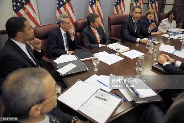 President-elect Barack Obama meets with members of his economic team, including treasury secretary nominee Timothy Geithner , Council of Economic...