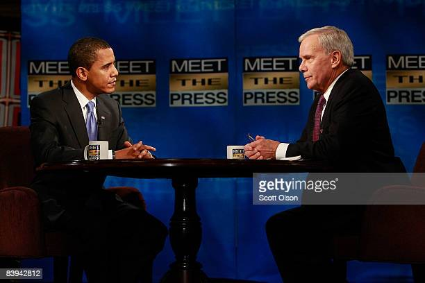 Presidentelect Barack Obama speaks to host Tom Brokaw during a taping of 'Meet the Press' at the NBC Tower on December 6 2008 in Chicago Illinois...