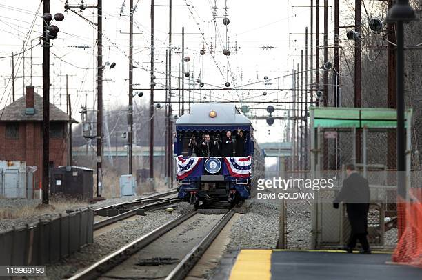 PresidentElect Barack Obama to travel through from Philadelphia to Washington DC on train for the inauguration of Jan 20th 2009 In Edgewood United...