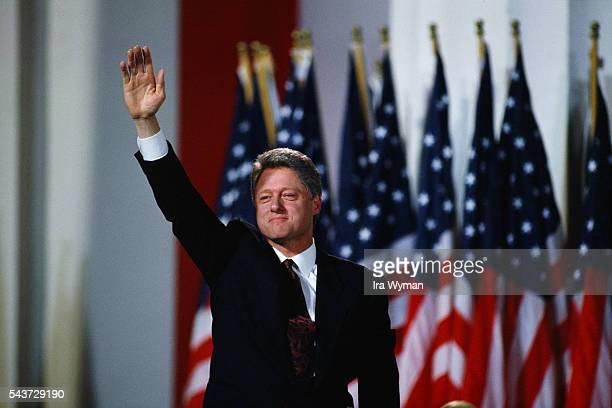 Presidentelect Bill Clinton celebrates his victory in the 1992 election