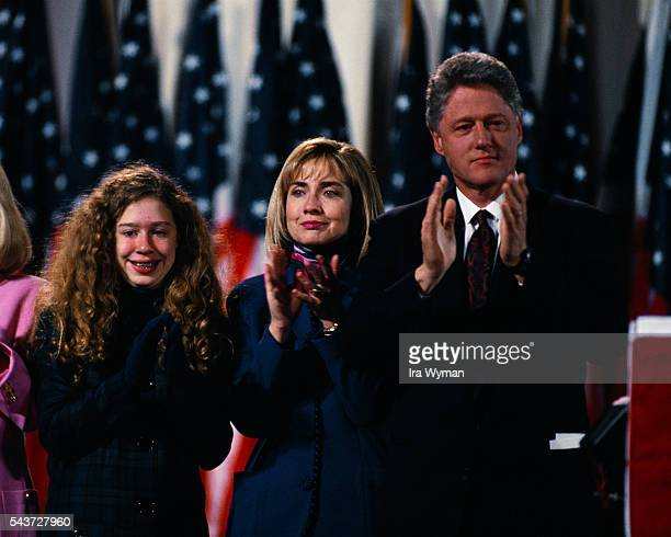Presidentelect Bill Clinton celebrates his victory in the 1992 presidential election with his daughter Chelsea and wife Hillary