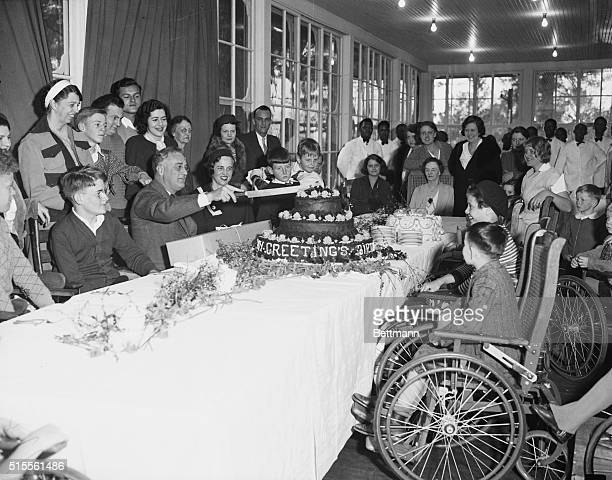 PresidentElect Celebrates Birthday Warm Springs Georgia Surrounded by patients of the Warm Springs Foundation Presidentelect Franklin D Roosevelt...