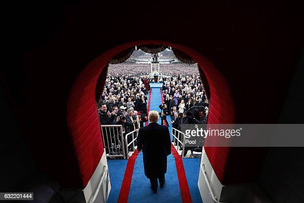 Presidentelect Donald J Trump arrive at the inauguration of Donald J Trump at the United States Capitol on January 20 2017 in Washington DC Donald J...