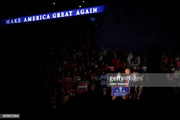 "President-elect Donald J. Trump holds a ""Thank You Tour 2016"" rally December 15, 2016 at Giant Center in Hershey, Pennsylvania. Trump held a campaign..."